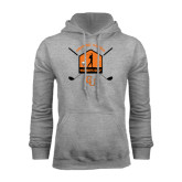 Grey Fleece Hoodie-Golf Crossed Sticks Designs