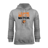 Grey Fleece Hoodie-Game Set Match Tennis Design