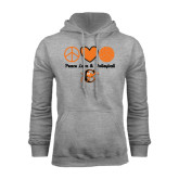 Grey Fleece Hoodie-Peace, Love and Volleyball Design