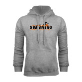 Grey Fleece Hoodie-Swimming w/ Swimmer Design