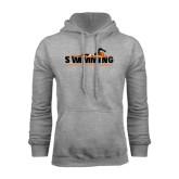 Grey Fleece Hoodie-Swimming w/ Swimmer Design