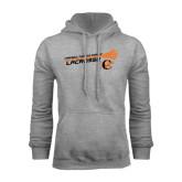 Grey Fleece Hoodie-Lacrosse Stick Rise Design