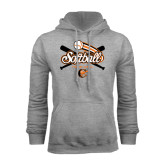 Grey Fleece Hoodie-Softball Crossed Bats Design