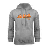 Grey Fleece Hoodie-Softball Script w/ Bat Design