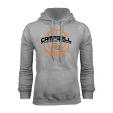 Grey Fleece Hoodie-Basketball Ball Design
