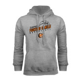 Grey Fleece Hoodie-Basketball Stacked Design