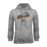 Grey Fleece Hoodie-Basketball Stacked Design