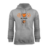Grey Fleece Hoodie-Just Kick It Soccer Design