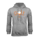 Grey Fleece Hoodie-Golf Text Design