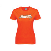Ladies Orange T Shirt-Baseball Bat Design