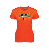 Ladies Orange T Shirt-Baseball Crossed Bats Design