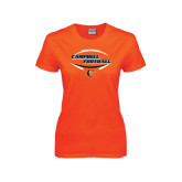 Ladies Orange T Shirt-Inside Football Ball Design