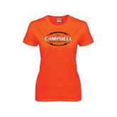 Ladies Orange T Shirt-Lighting Football Ball Design