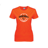 Ladies Orange T Shirt-Basketball Ball Design