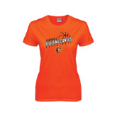 Ladies Orange T Shirt-Basketball Stacked Design