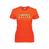 Ladies Orange T Shirt-Soccer Design