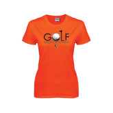 Ladies Orange T Shirt-Golf Text Design