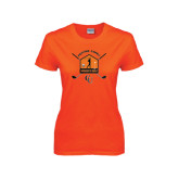 Ladies Orange T Shirt-Golf Crossed Sticks Designs