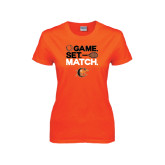 Ladies Orange T Shirt-Game Set Match Tennis Design