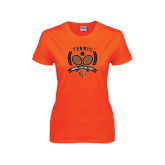 Ladies Orange T Shirt-Crossed Tennis Design