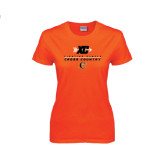 Ladies Orange T Shirt-Cross Country Design