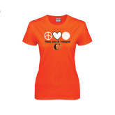 Ladies Orange T Shirt-Peace, Love and Volleyball Design