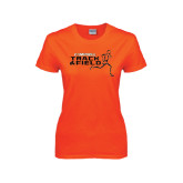 Ladies Orange T Shirt-Track and Field Runner Design