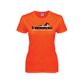 Ladies Orange T Shirt-Swimming w/ Swimmer Design