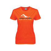 Ladies Orange T Shirt-Swimming Design