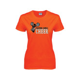 Ladies Orange T Shirt-Cheer Design