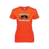 Ladies Orange T Shirt-Wrestling Design