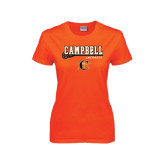 Ladies Orange T Shirt-Lacrosse Stick Design