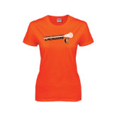 Ladies Orange T Shirt-Lacrosse Stick Rise Design