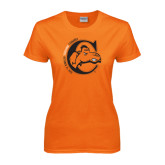 Ladies Orange T Shirt-C w/ Frankenstein Camel Head Halloween