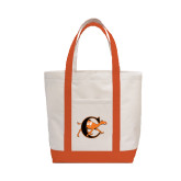 Contender White/Orange Canvas Tote-Campbell Official Logo