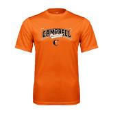 Performance Orange Tee-Baseball Crossed Bats Design