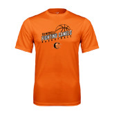 Performance Orange Tee-Basketball Stacked Design