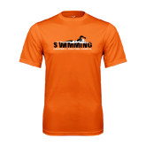 Performance Orange Tee-Swimming w/ Swimmer Design