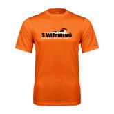 Performance Orange Tee-Swimming w/ Swimmer Design