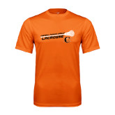 Performance Orange Tee-Lacrosse Stick Rise Design