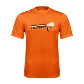 Performance Orange Tee-Lacrosse Stick Rise Design