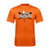 Performance Orange Tee-Softball Crossed Bats Design