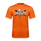 Performance Orange Tee-Softball Crossed Bats Design
