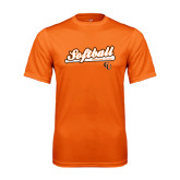 Performance Orange Tee-Softball Script w/ Bat Design