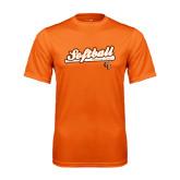 Performance Orange Tee-Softball Script w/ Bat Design
