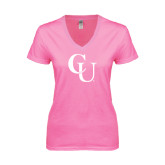 Next Level Ladies Junior Fit Deep V Pink Tee-CU