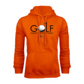 Orange Fleece Hoodie-Golf Text Design