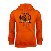 Orange Fleece Hoodie-Crossed Tennis Design