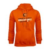 Orange Fleece Hoodie-Can You Dig It - Volleyball Design