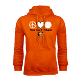 Orange Fleece Hoodie-Peace, Love and Volleyball Design